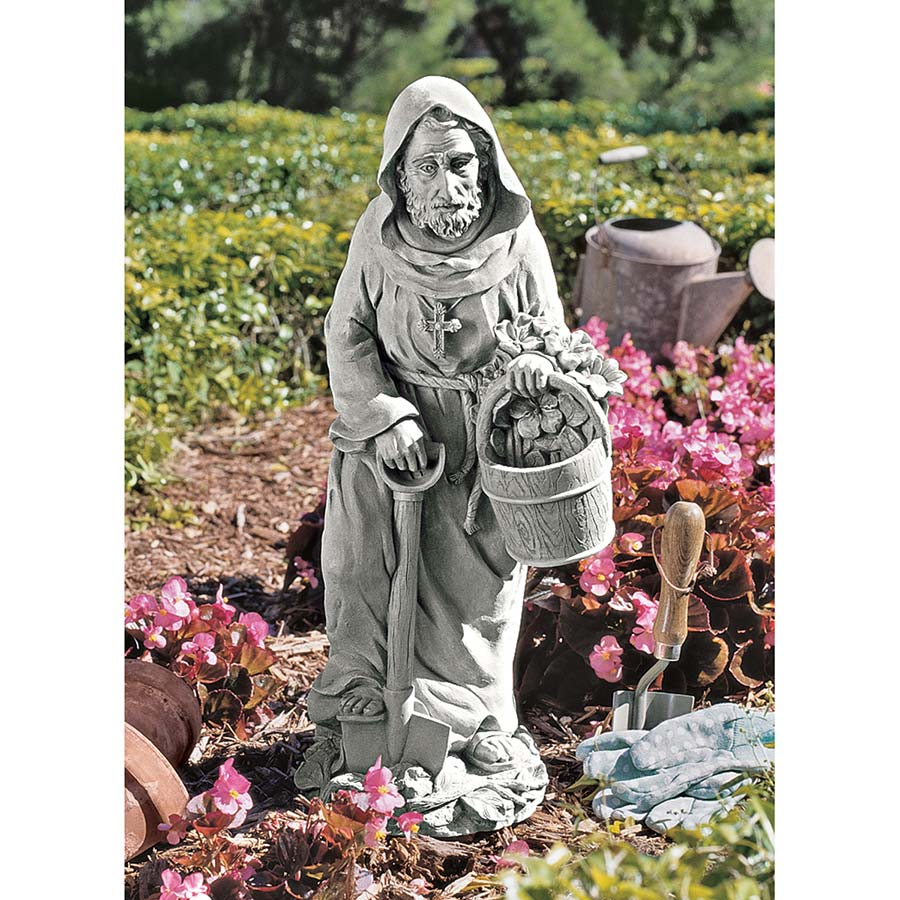 Design Toscano St. Fiacre, the Gardener's Patron Saint Statue: Large