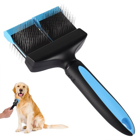 Petacc Double Sided Pet Grooming Brush Flexible Pet Pin Brush Double Sided Dog Slicker with Non-slip Handle and Rounded Tipped Pins, Suitable for Long-haired Pets, Black & -
