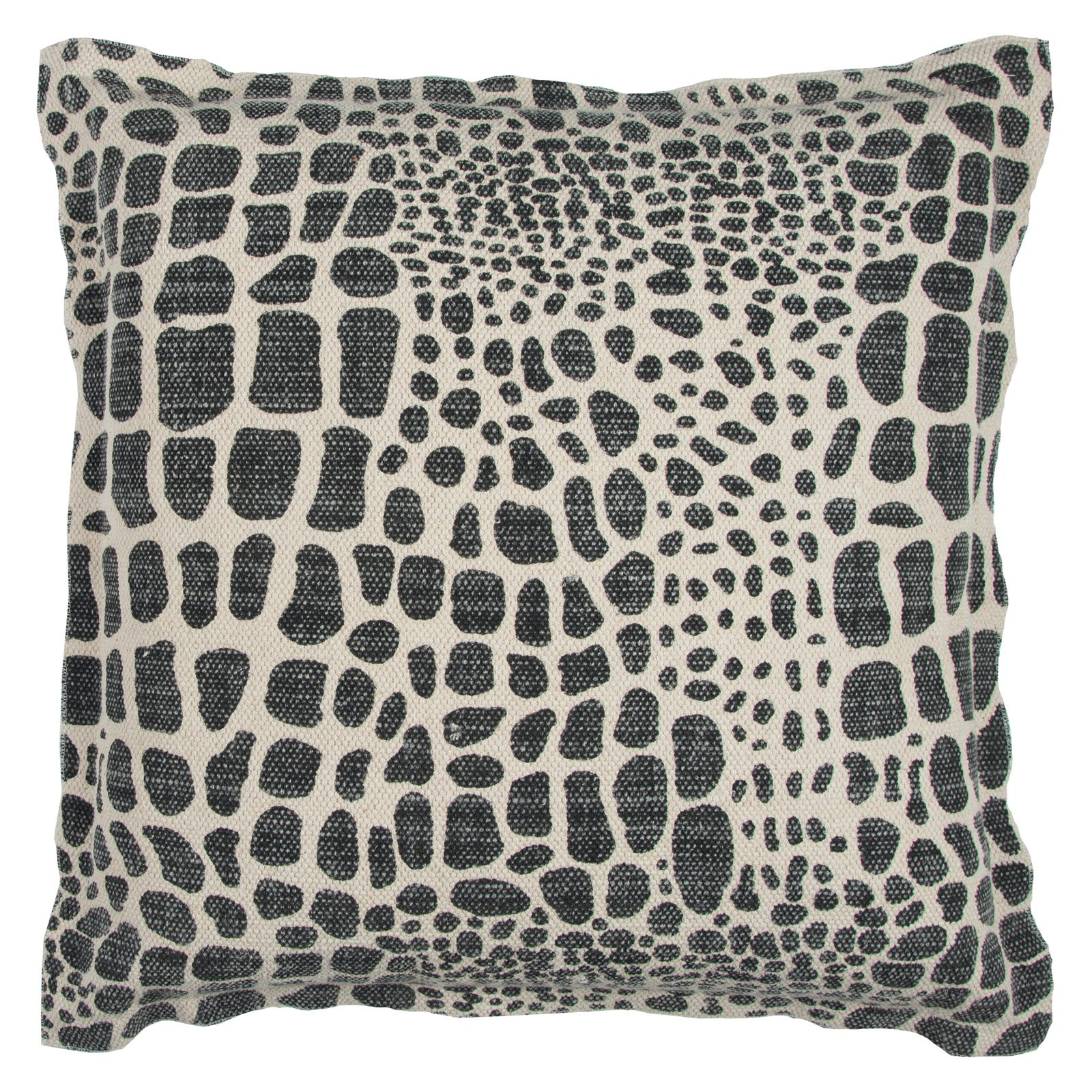 "Rizzy Home Decorative Poly Filled Throw Pillow Animalprint 22""X22"" Black"