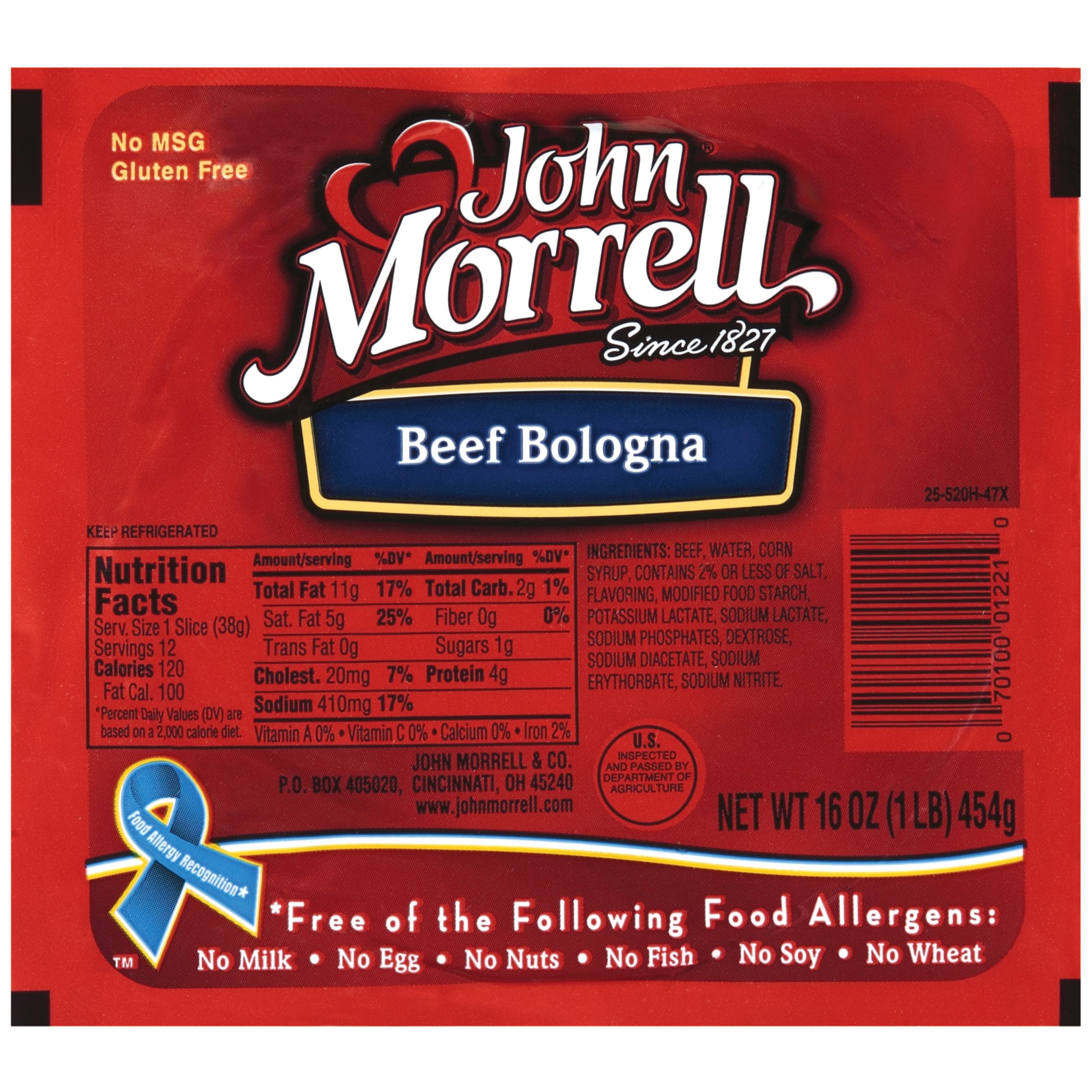 John Morrell Beef Bologna Lunchmeat 16 Oz Well
