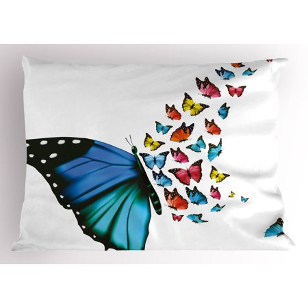 Butterfly Pillow Sham Creative Conceptual Artwork Monarch Wings Colorful Realistic Natural Wildlife, Decorative Standard Size Printed Pillowcase, 26 X 20 Inches, Multicolor, by Ambesonne (Monarch Butterfly Wings)