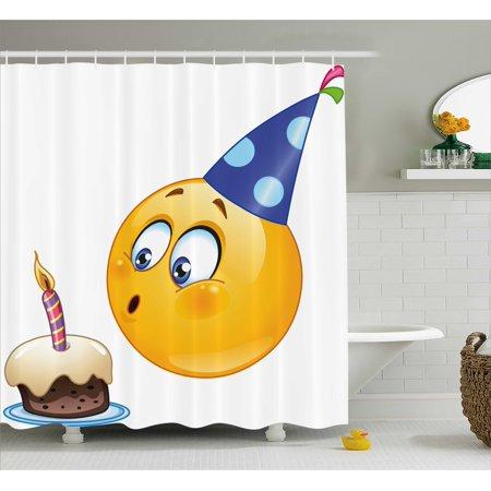 Birthday Decorations For Kids Shower Curtain Happy Emoji