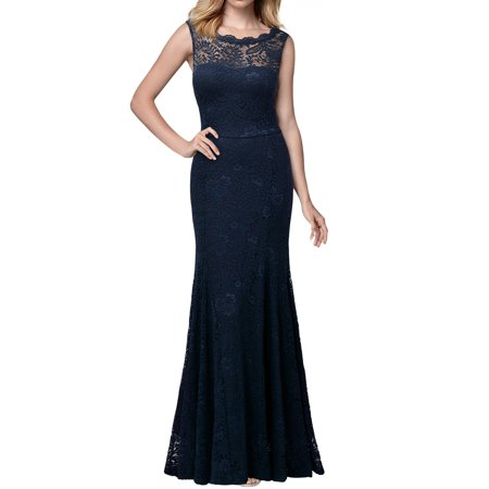 MIUSOL Women's 1920'S Retro Floral Lace Sleeveless Halter Bridesmaid Long Dresses for Women (Navy Blue 3XL) (Buy 1920's Dresses Online)
