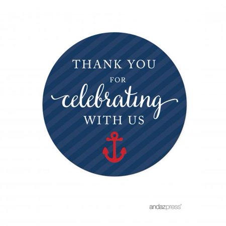 Thank You Navy Blue Nautical Baby Shower Circle Labels Stickers, 40-Pack