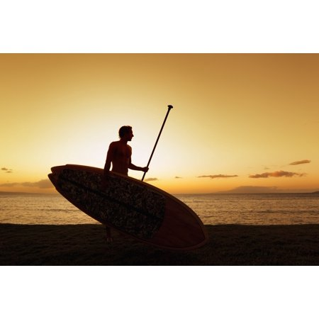 Hawaii Maui Wailea Silhouette of Young Man with Stand Up Paddle Board at Sunset Stretched Canvas - MakenaStockMedia  Design Pics (19 x 12) (Maui Paddle)