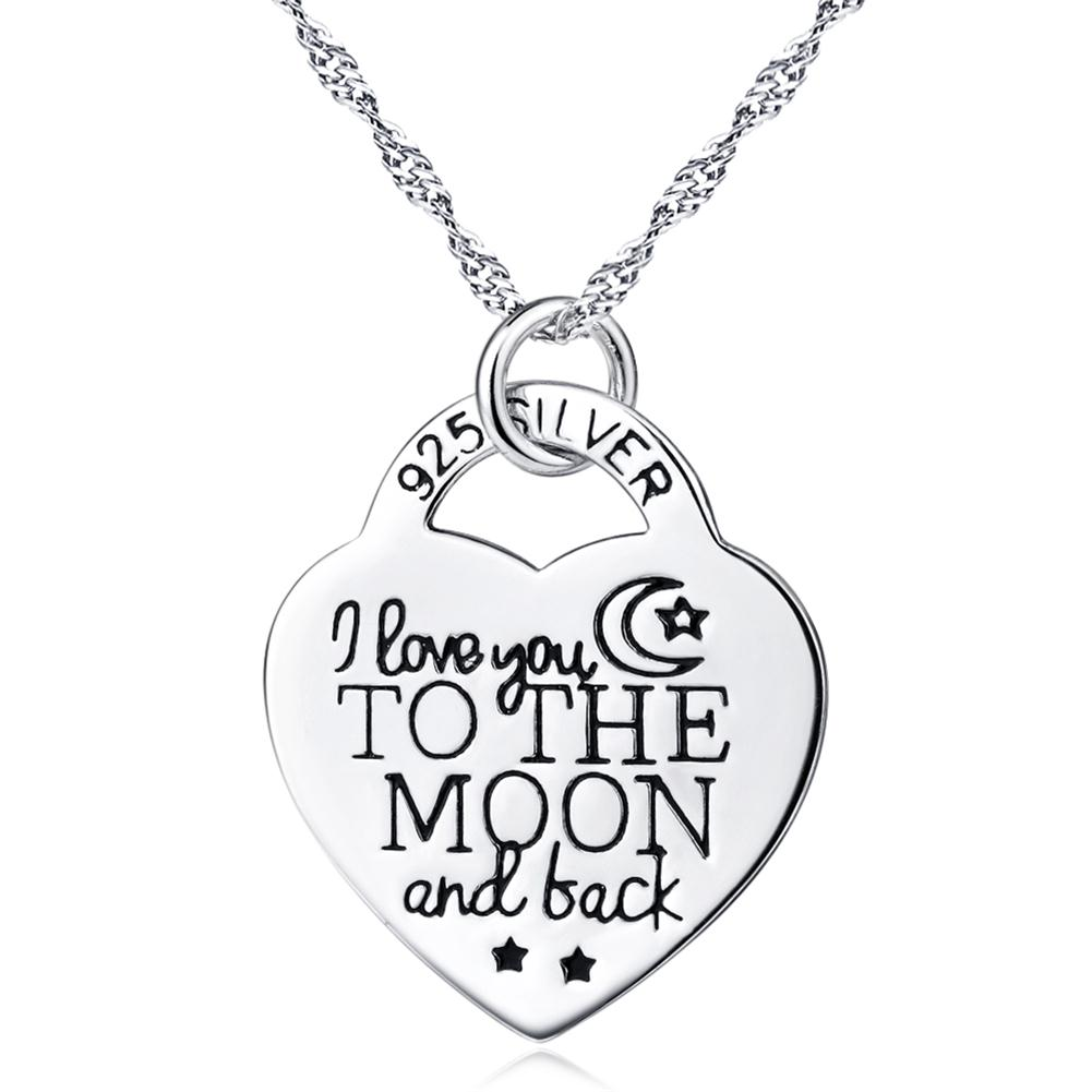 925 Sterling Silver I Love You to the Moon and Back Heart Personalized Jewelry Pendant Choker Necklace,18''