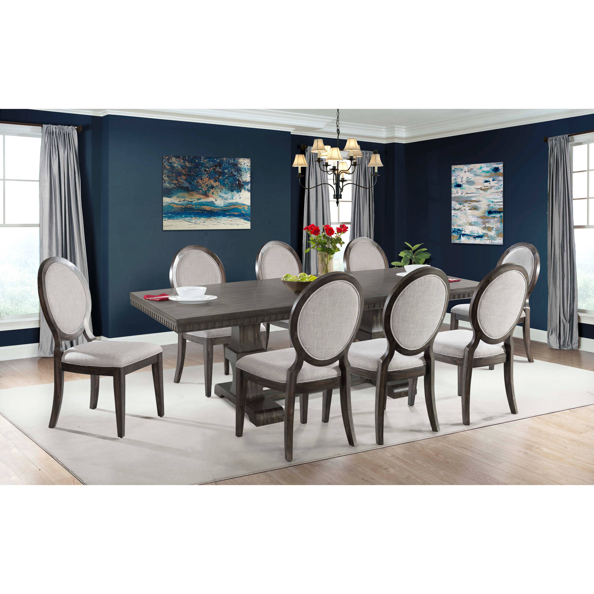 Picket House Furnishings Steele 9PC Dining Set  Table U0026 8 Round Fabric  Chairs