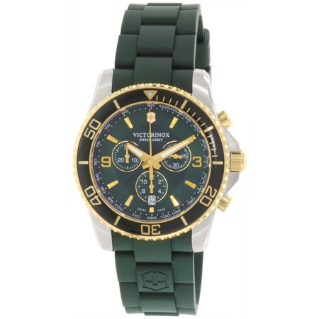 Victorinox Swiss Army Men's Victorinox 241694 Army Green/Black Silicone Swiss Quartz Watch