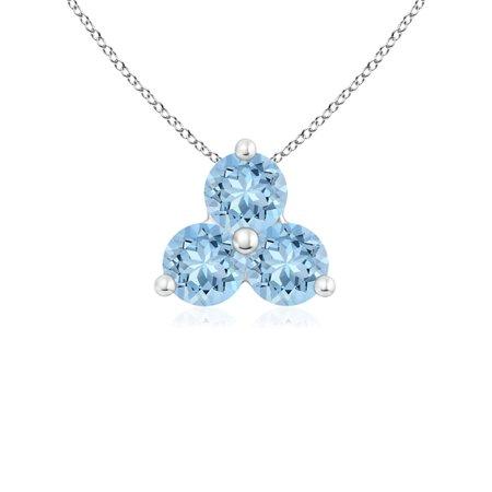 - Valentine Jewelry Gift - Round Aquamarine Three Stone Pendant in 14K White Gold (3mm Aquamarine) - SP0452AQ-WG-AAA-3