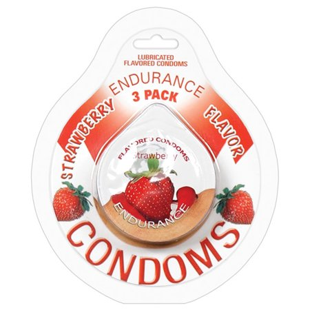 Endurance Flavored Condom - Strawberry Pack of - Strawberry Condoms