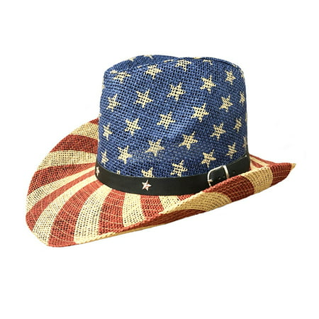 American Flag Cowboy Straw Hat Sun Beach Cowgal Unisex for Women Men Old Glory