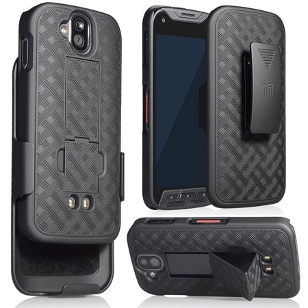 DuraForce Pro Clip Case, Nakedcellphone's Black Kickstand Case + Belt Clip  Holster for Kyocera Duraforce Pro (E6810, E6820, E6830, E6833, E6800)