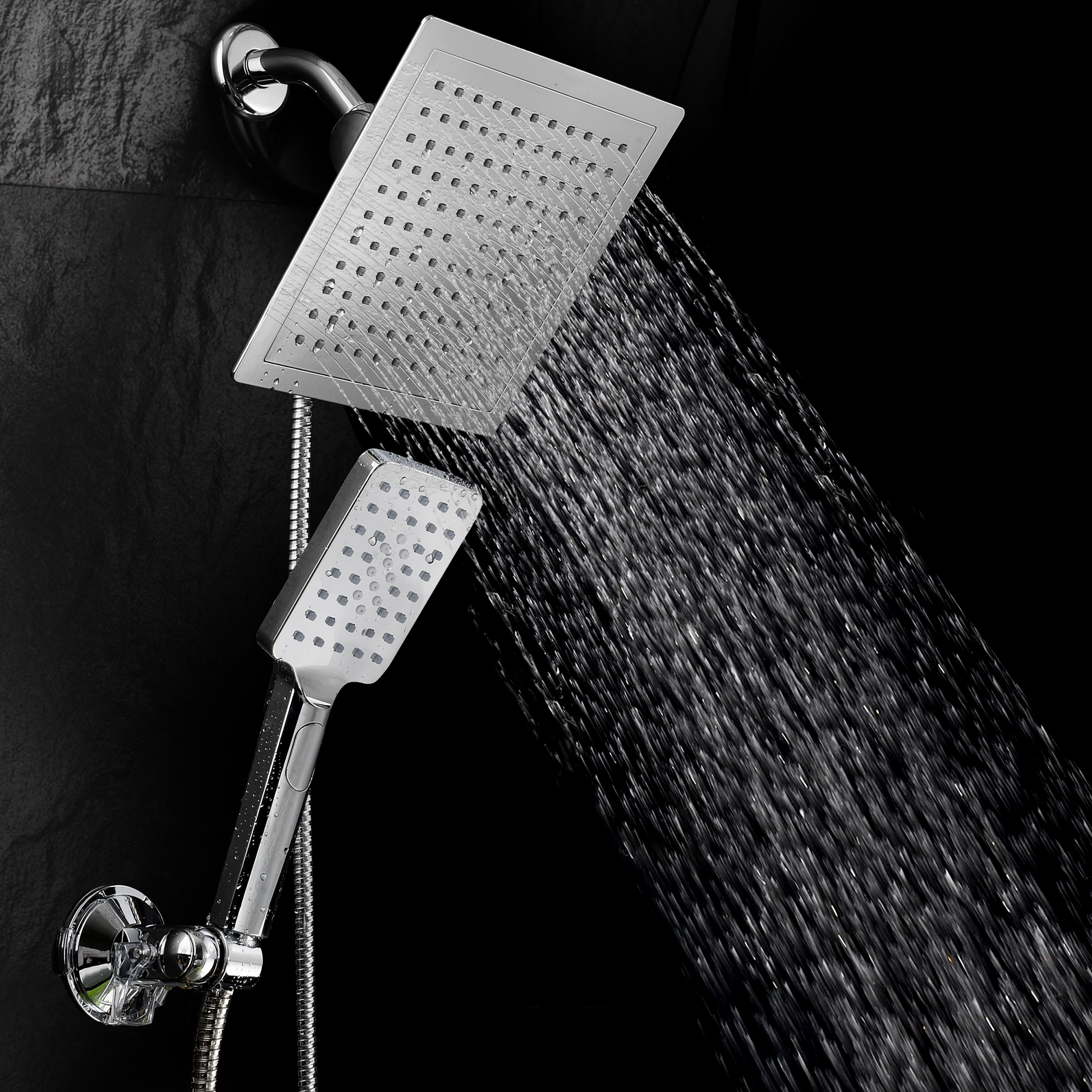 DreamSpa® Ultra-Luxury 9-Inch Square Rainfall Combo with Revolutionary Push-Control Hand Shower and Low-Reach Wall Bracket