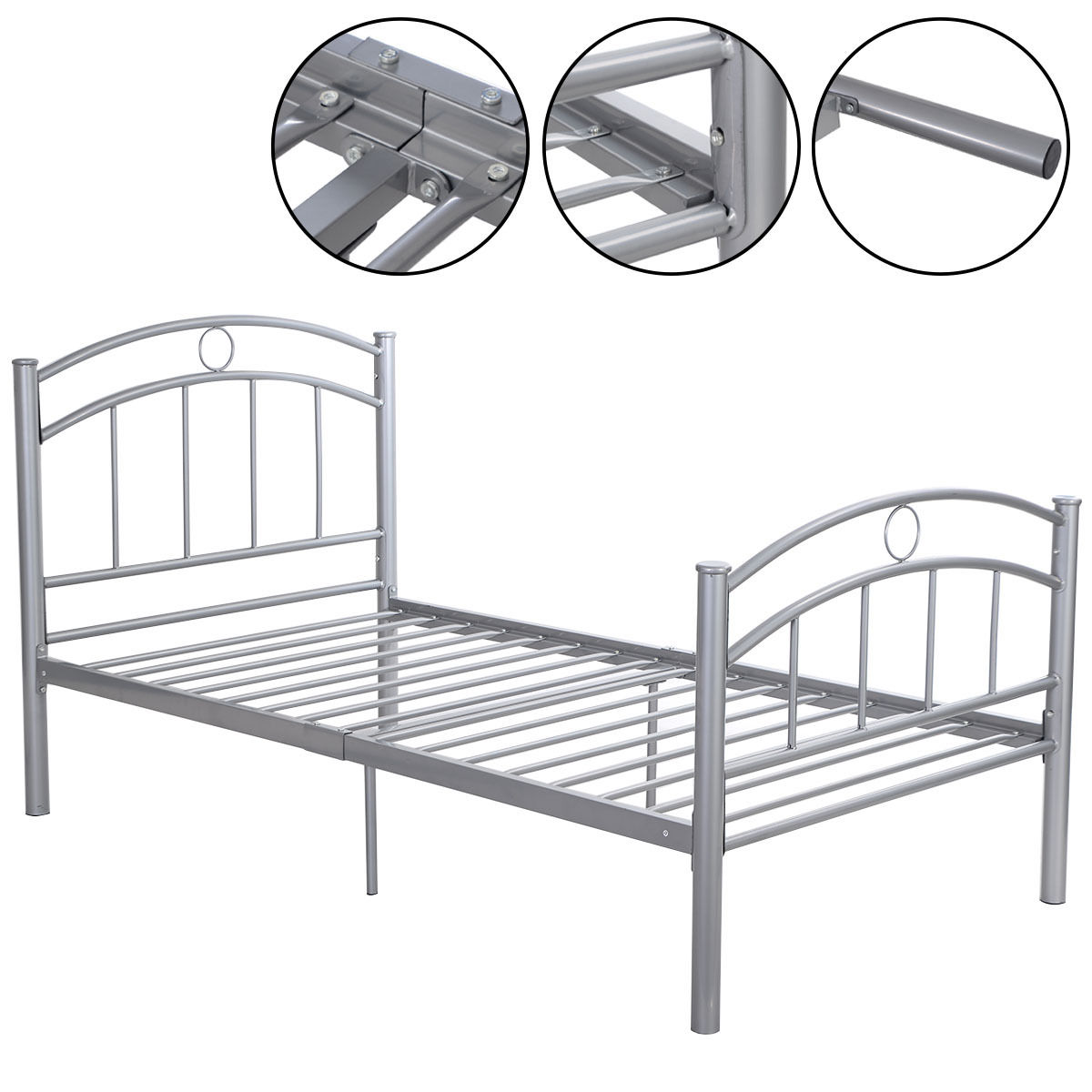 Costway 83''x42''x35'' Black Metal Bed Frame Platform Twin Size Home Furniture (Sliver) by Costway