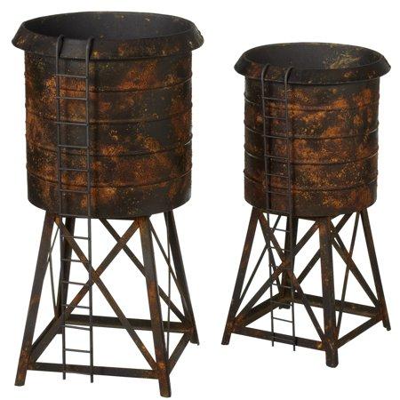 - CBK Metal 2 Piece Set Distressed Black Water Tower Planter 157647