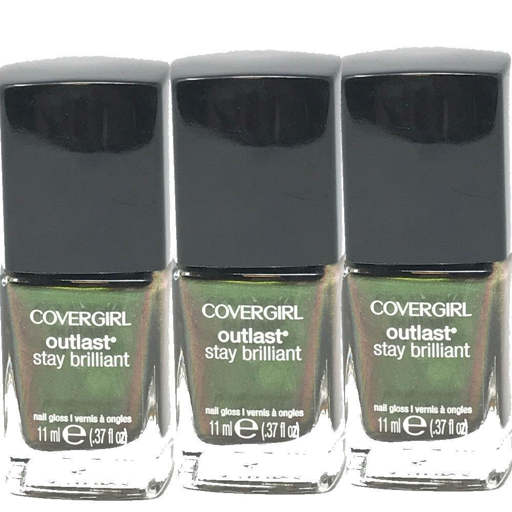 Lot of 3 CoverGirl Outlast Stay Brilliant Nail Gloss Emerald Blaze #50