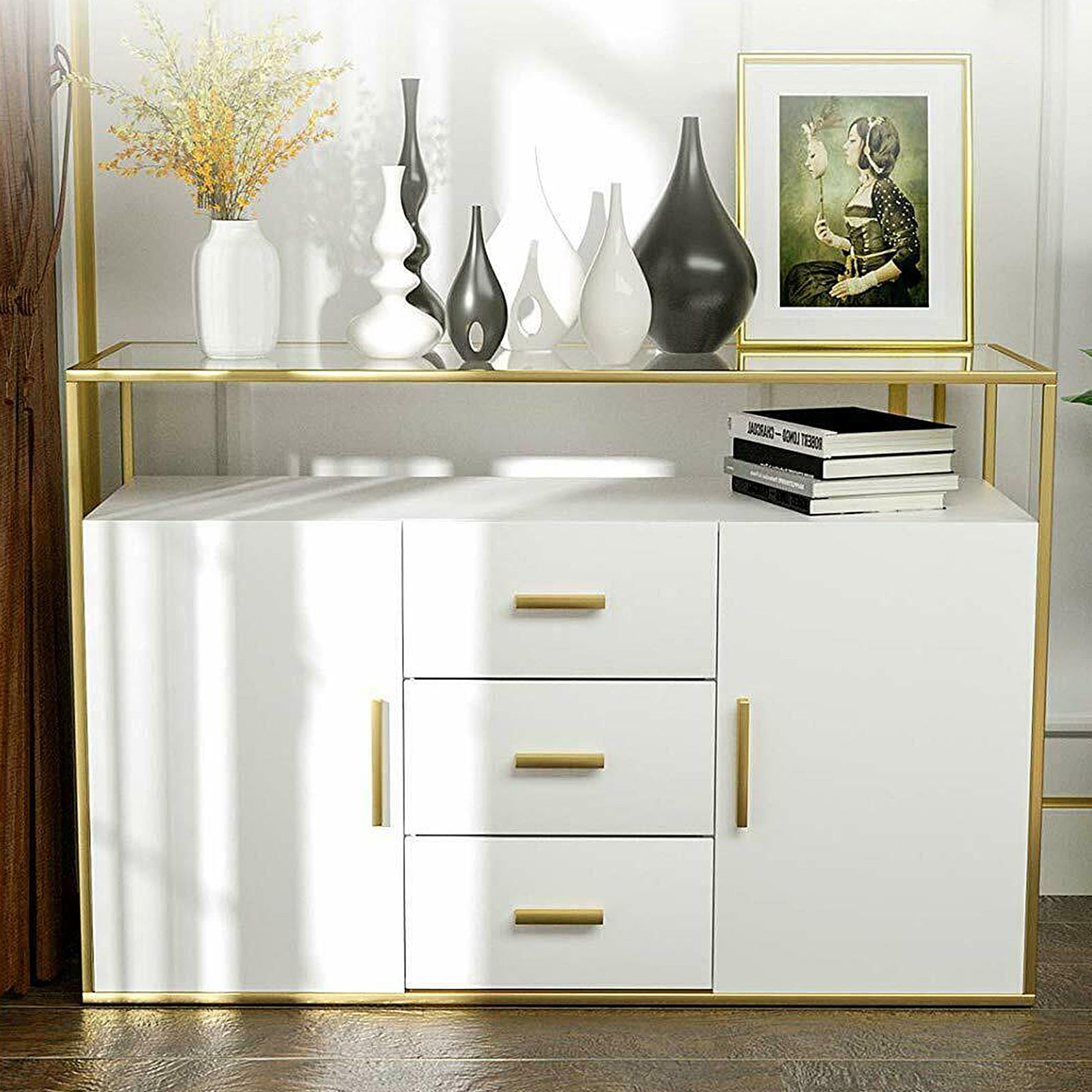 mecor kitchen sideboard cabinet,tempered glass top buffet