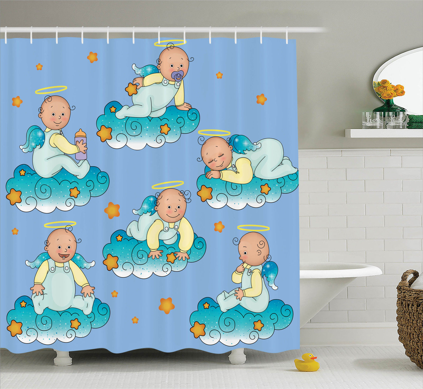 Baptism Decorations  Baptism Sitting Sleeping Crawling Smiling Babies On Clouds Catholic Children Party, Bathroom Accessories, 69W X 84L Inches Extra Long, By Ambesonne