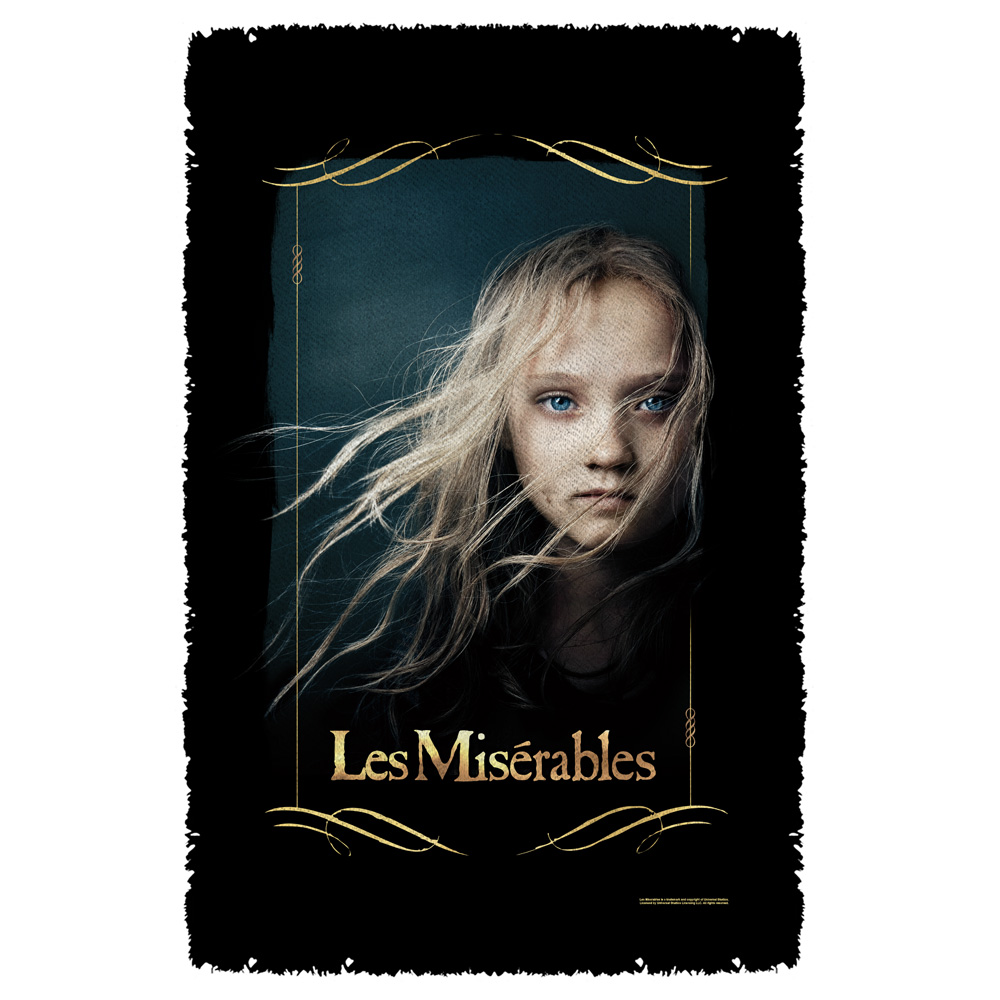 Les Miserables Girl Woven Throw White 48X80