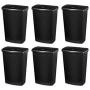 Sterilite 10919006 11.4 Gallon Lift-Top Covered Wastebasket Trash Can, 6 Pack