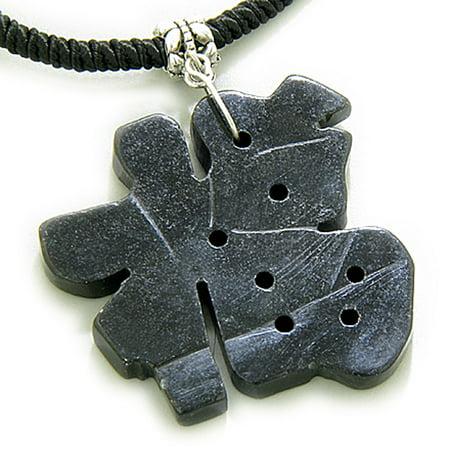Good Luck Talisman Lucky Charm Symbol Black Serpentine Pendant Necklace