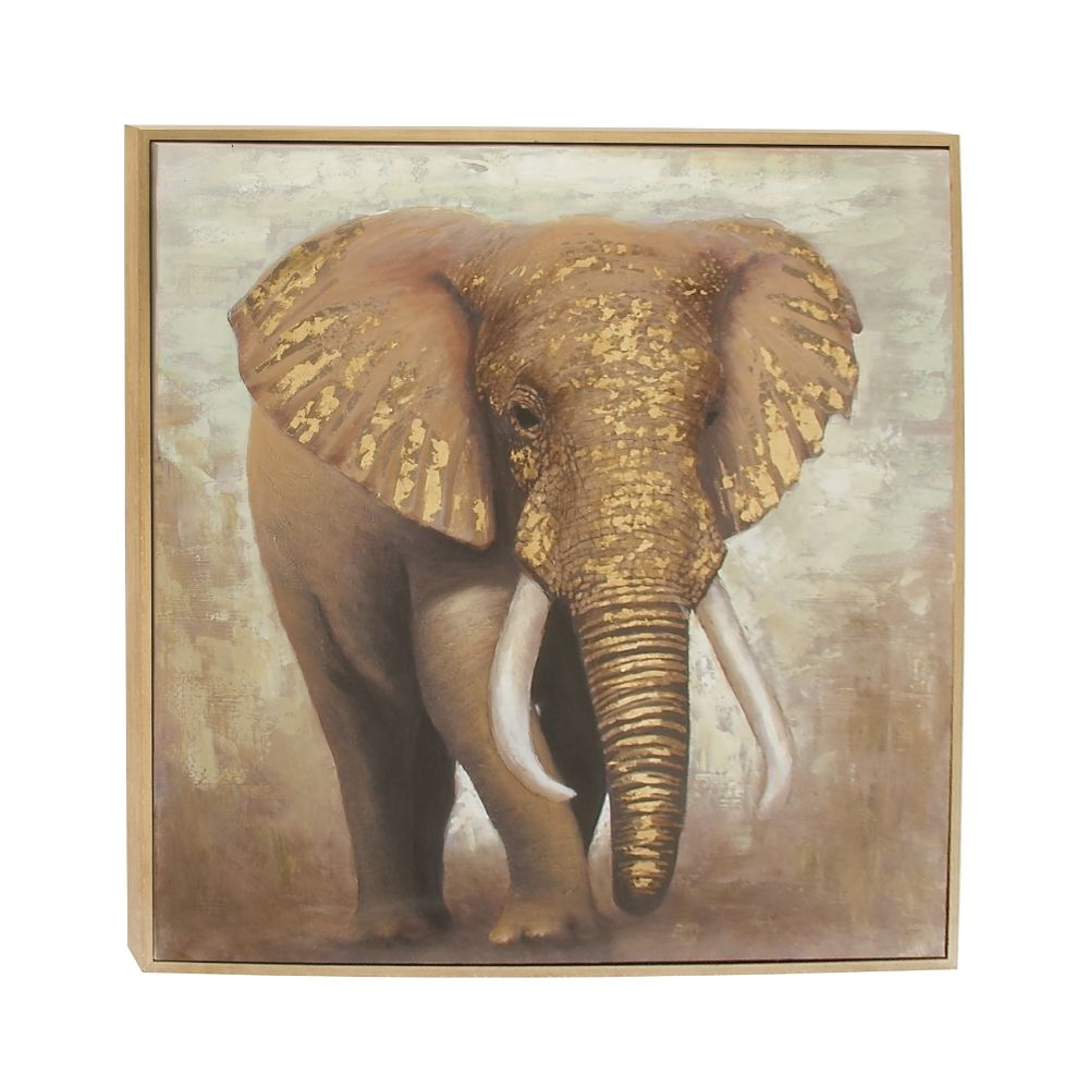 Appealing Elephant Framed Canvas Art by Benzara