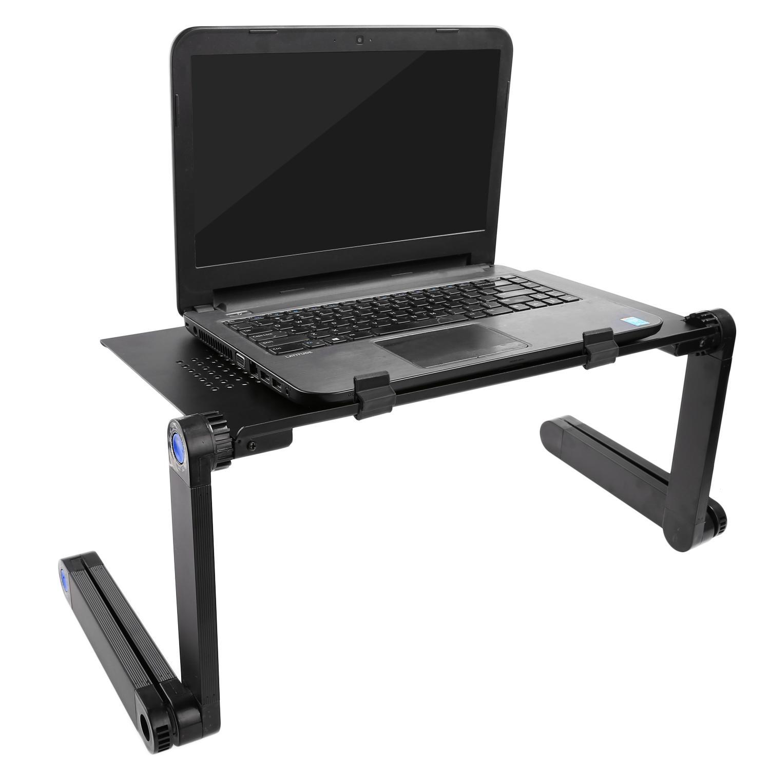 "18.7 x 10.1"" Laptop Desk Office Solutions Portable Adjustable Foldable Laptop Notebook Desk Table Stand Tray BLLK"