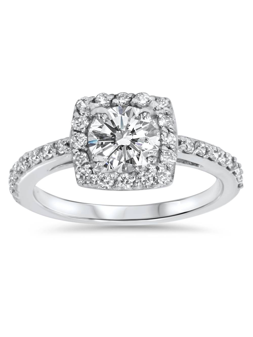 Cushion Halo Diamond Engagement Ring 3 4 ct Solitaire Brilliant Cut White Gold by Pompeii3