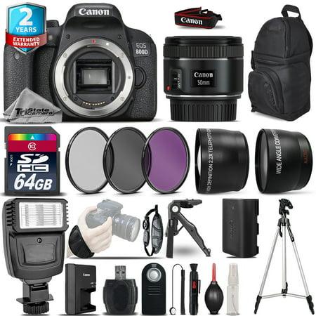 Canon EOS Rebel 800D DSLR Camera + 50mm 1.8 + 2yr Warranty -Ultimate Saving Kit