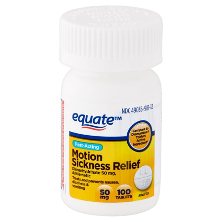 (2 Pack) Equate Fast Acting Motion Sickness Relief Dimenhydrinate Tablets, 50 mg, 100 Ct (Dramamine Tablet Motion Sickness)