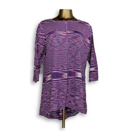 Susan Graver Women's Sweater Sz XL Lightweight Cotton Rayon Space Purple A346380
