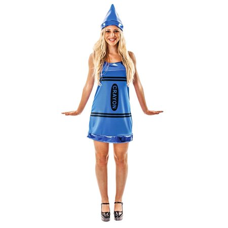 Blue Crayon Women's Dress Costume (Blue Crayon Costume)
