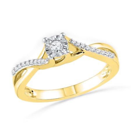 10kt Yellow Gold Womens Round Diamond Solitaire Twist Bridal Wedding Engagement Ring 1/6 (Gold Ladies Diamond Solitaire)