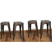 BTEXPERT 24-inch Industrial stacking Metal Vintage Antique Copper Rustic Distressed Dining room Counter Bar Stool Modern... by BTExpert