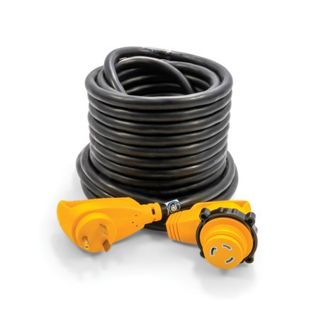 Camco 55525 RV 50' 30-Amp Male and 30-Amp Female PowerGrip 90 Degree Locking Extension Cord](90 50)
