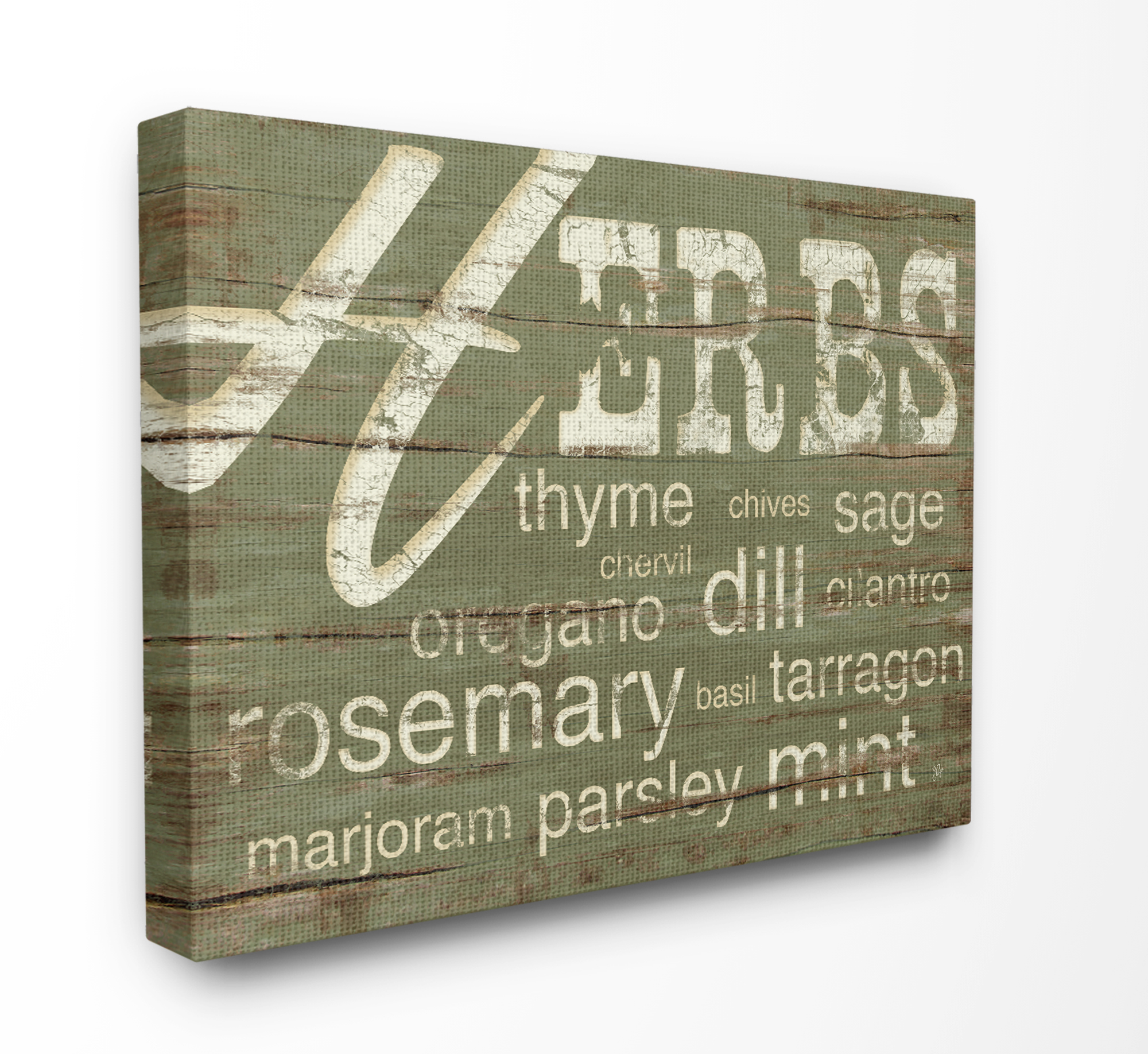 The Stupell Home Decor Collection Herbs And Words Green Kitchen XXL Stretched Canvas Wall Art, 30 x 1.5 x 40