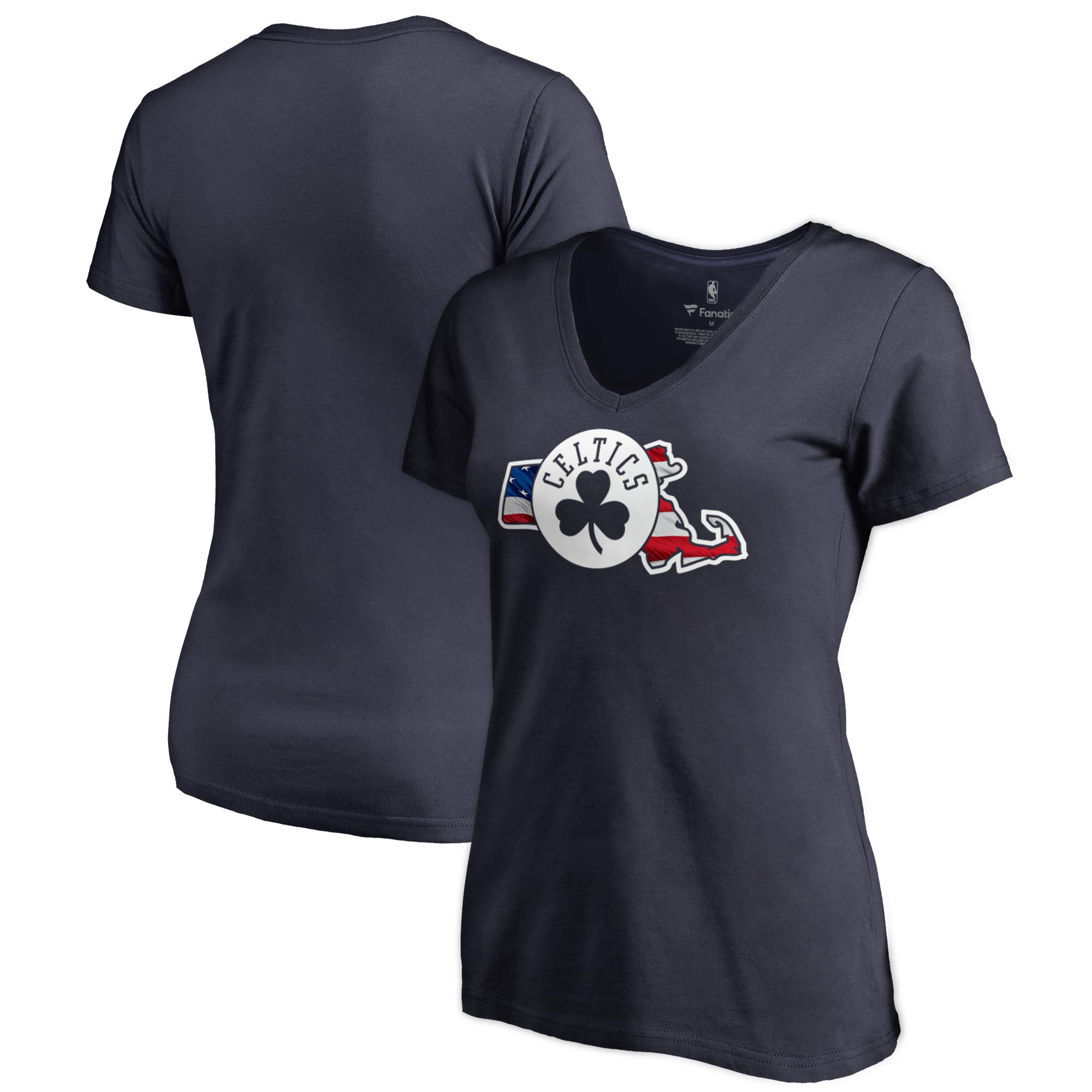 Boston Celtics Fanatics Branded Women's Banner State V-Neck T-Shirt - Navy