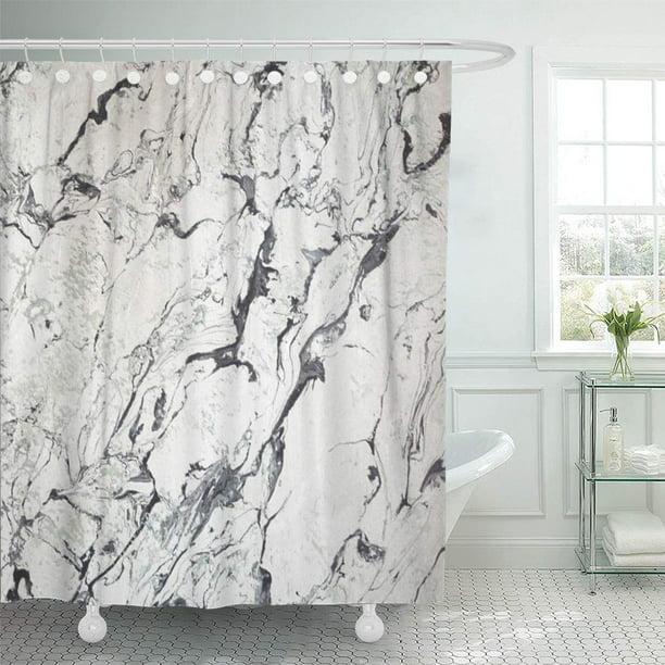 CYNLON Gray Stone Marble White Black Grey Bathroom Decor Bath