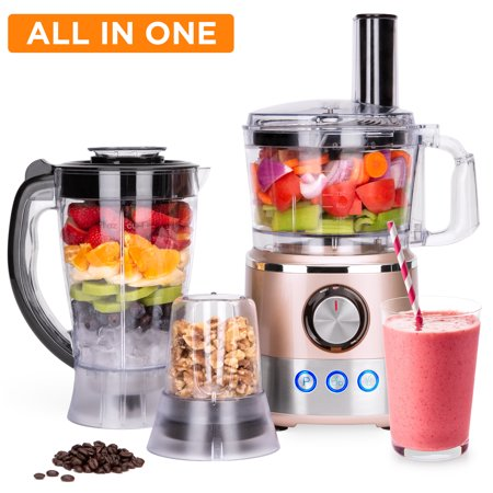 Best Choice Products 650W Multifunctional All-In-One Stainless Steel Food Processor, Blender, & Grinder Combo with 7.4-Cup Capacity, 10 Attachments for Juicing, Cutting, Shredding, & More, Rose