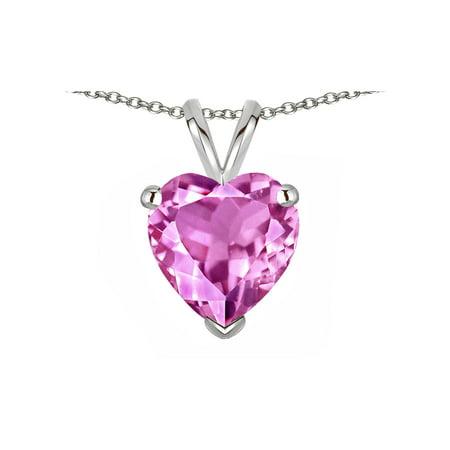 Star K Created Pink Sapphire 8mm Heart Pendant