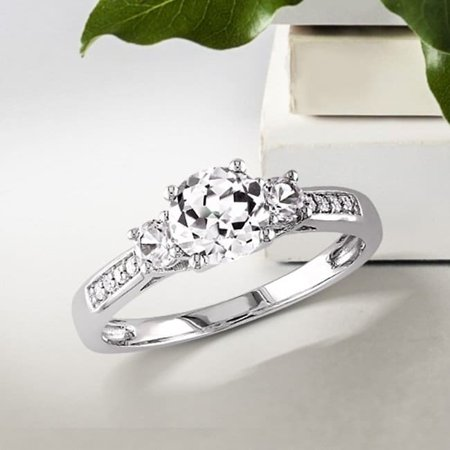 - Miadora  10k White Gold Created White Sapphire and Diamond 3-Stone Engagement Ring