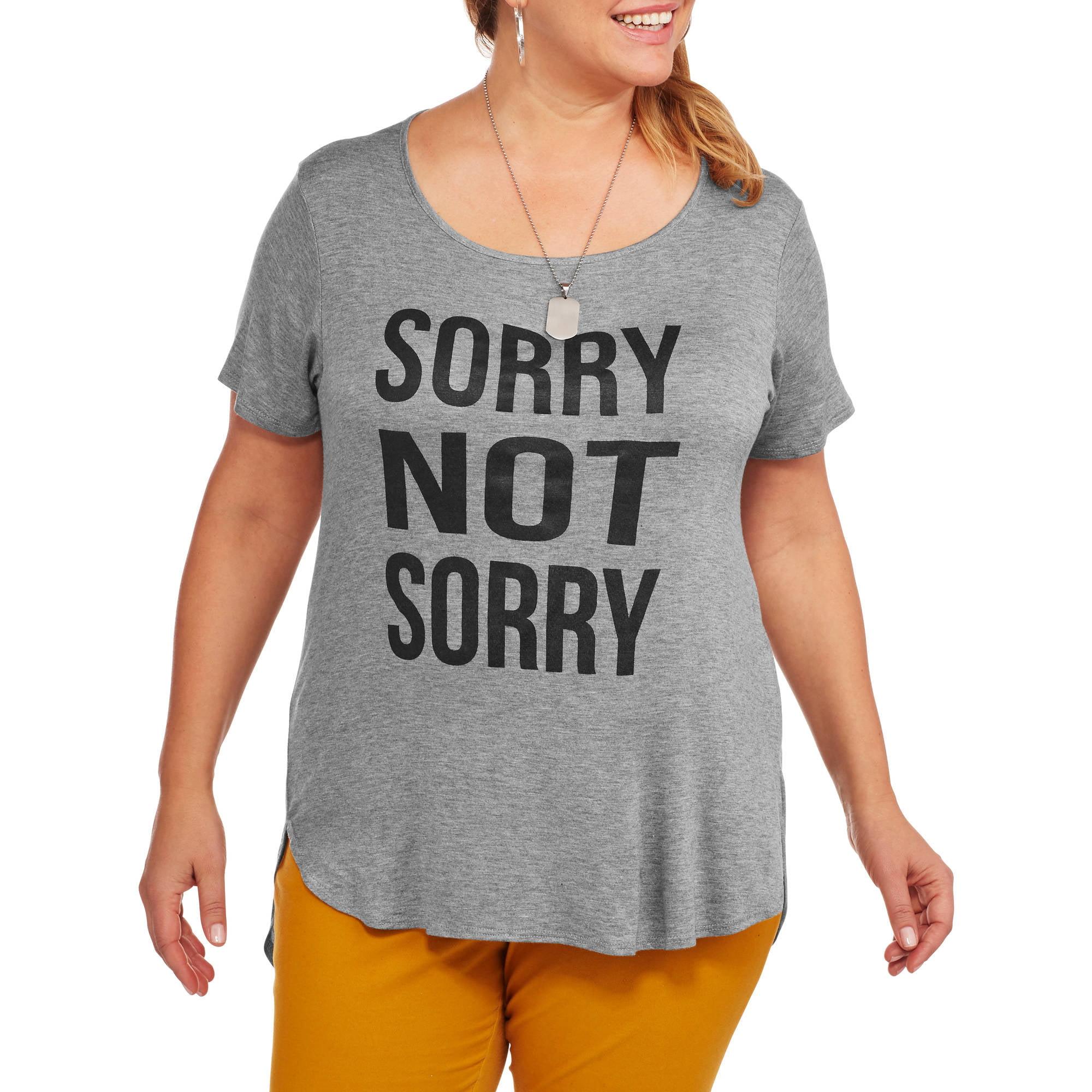 Women's Plus 'Sorry not Sorry Scoopneck' Hi-Lo Graphic T-Shirt