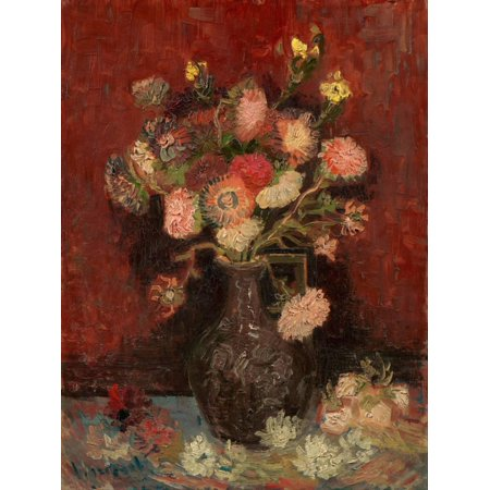 Vase with Chinese Asters and Gladioli Red Flower Floral Still Life Painting Print Wall Art By Vincent van Gogh ()