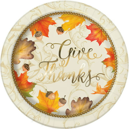 Gold Fall Leaves Thanksgiving Paper Dinner Plates, 9in, 8ct