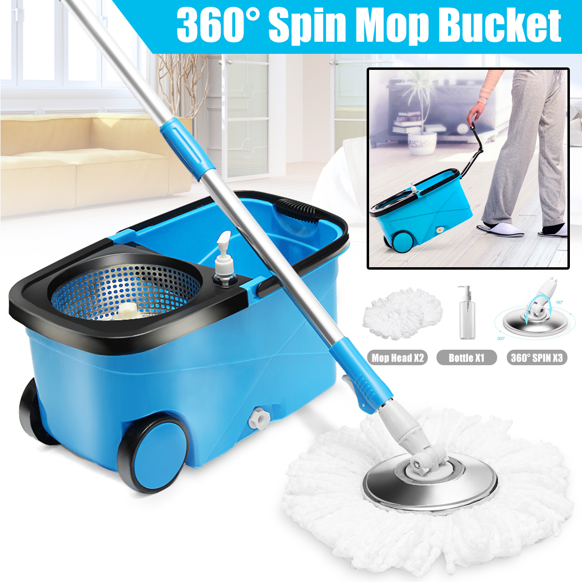 NEW 360° Spinning Mop Stainless Steel Spin Dry Bucket Free 2 Microfibre Heads Clean