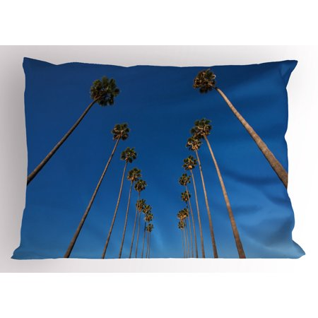 Palm Tree Pillow Sham Palms and Clear Blue Sky Scene Tropical Plant Summer Exotic Nature Illustration, Decorative Standard Size Printed Pillowcase, 26 X 20 Inches, Green Blue, by Ambesonne - Tropical Scenes