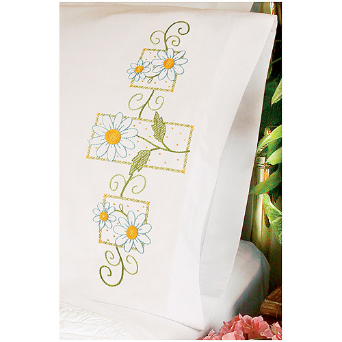 "Dimensions ""Daisies On Gingham"" Pillowcase Pair Stamped Cross Stitch, 20"" x 30"""