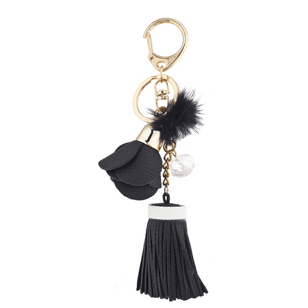 Lux Accessories Black Pu Leather Tassel Bag Charm Keychain - Leather Tassels
