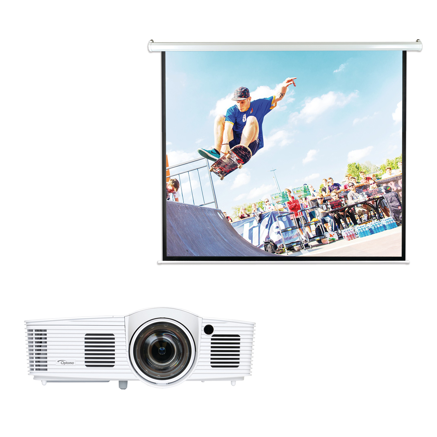 Optoma GT1080Darbee 1080p Short-Throw Gaming Projector & Pyle PRJELMT106 Motorized Projector Screen 100""