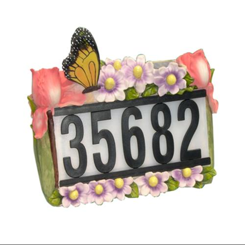 Butterfly Flowers Outdoor Solar Home Address Sign Garden Light by Gen RR